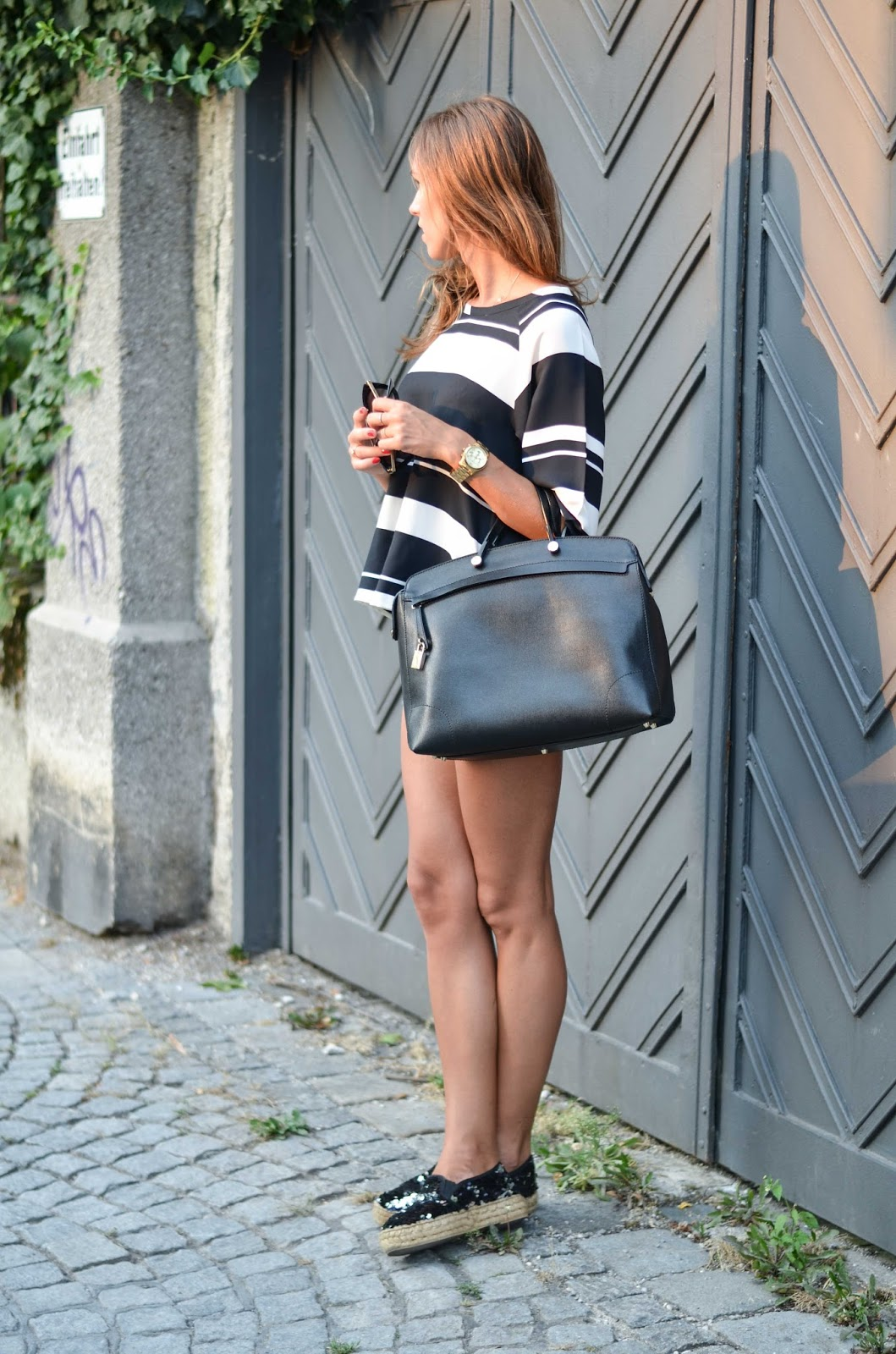kristjaana mere summer outfit striped top sequin espadrilles