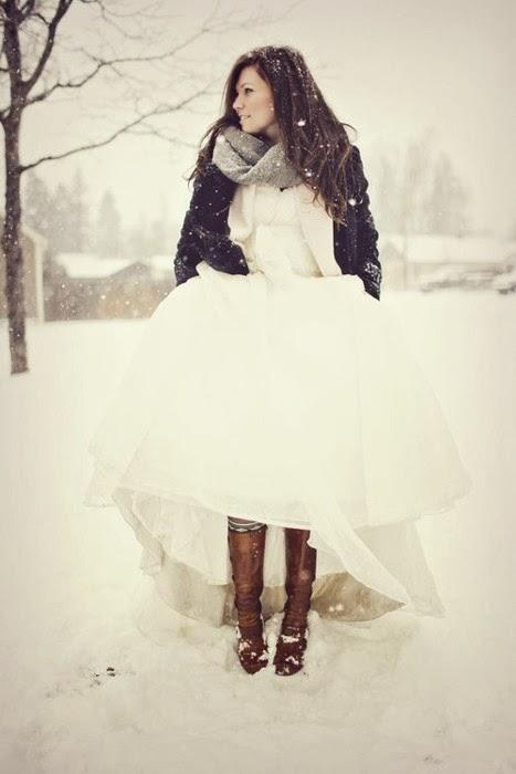 novia en invierno