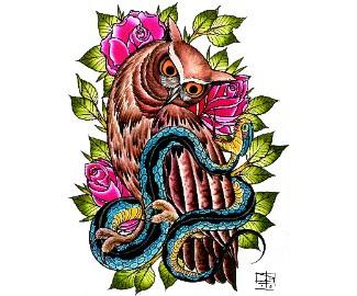 traditional tattoos,owl tattoos,bird tattoos,animal tattoos,nature tattoos,wildlife tattoos,leaf tattoos,leaves tattoos,roses tattoos,snakes tattoos,serpents tattoos