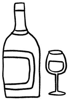 白ワインのイラスト「ボトルとグラス」 白黒線画