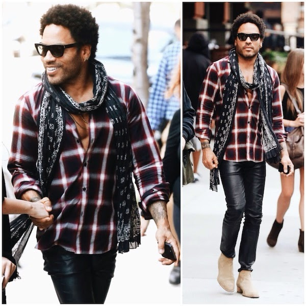 Lenny Kravitz wears Saint Laurent maroon plaid shirt in New York City September 2014