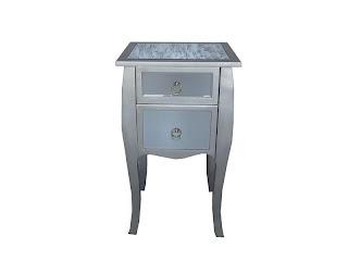 mesilla plata y cristal, mesilla auxiliar, mesa dormitorio