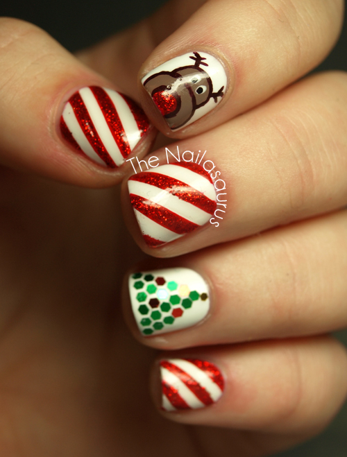 For The Candy Cane Nails I Used One Coat Of Seche Vite Before Marking Off Striped Sections With Thin Cuts Scotch Tape And Painted