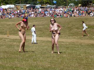 streaker at a cricket match british summer festival