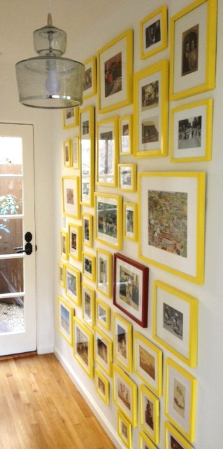 diwhy not bright yellow gallery wall - Yellow Picture Frames