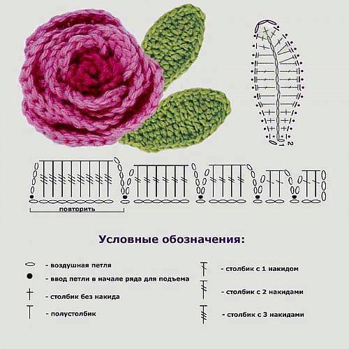 Вязание крючком цветов и листьев розы