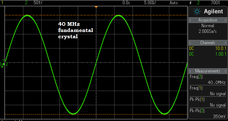 The 40 MHz crystal shown in the earlier Cm, Lm, ESR, and Qul calculations vibrating in my crystal test oscillator.