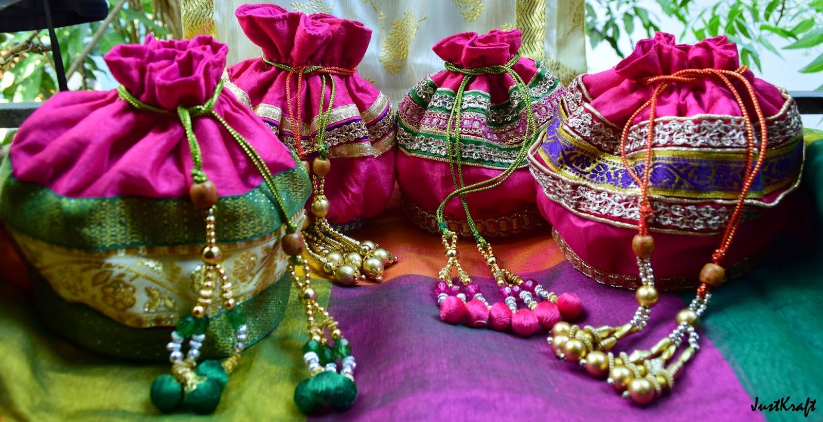 Pink Raw Silk Polti or drawstring bag