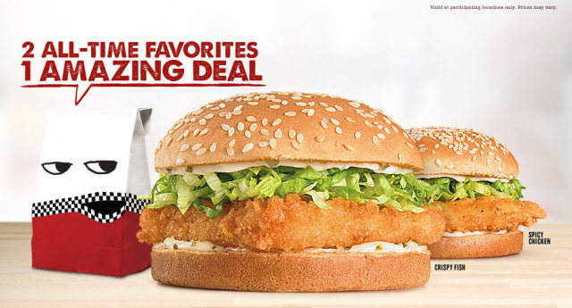 Checkers rally 39 s two for 2 crispy fish spicy chicken for Jack in the box fish and chips