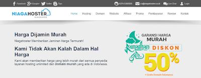 Tampilan Homepage Niaga Hoster