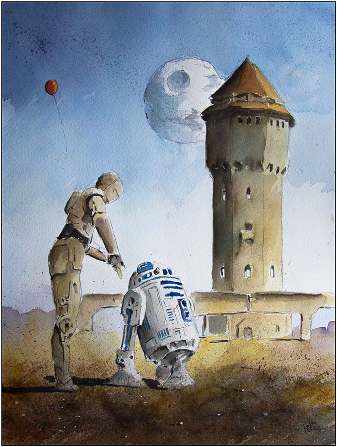 03-C3PO-and-R2D2-Watertower-Metalwork-Grzegorz-Chudy-Paintings-of-Star-Wars-worlds-in-Watercolors-www-designstack-co