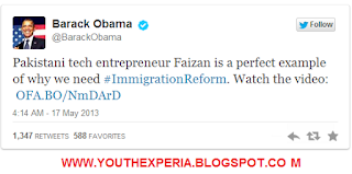 Obama's tweet praising Pakistan