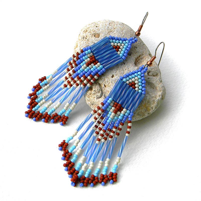 Синие длинные серьги из бисера,Серьги ручной работы,этнические серьги,серьги из бисера,серьги с бахромой...