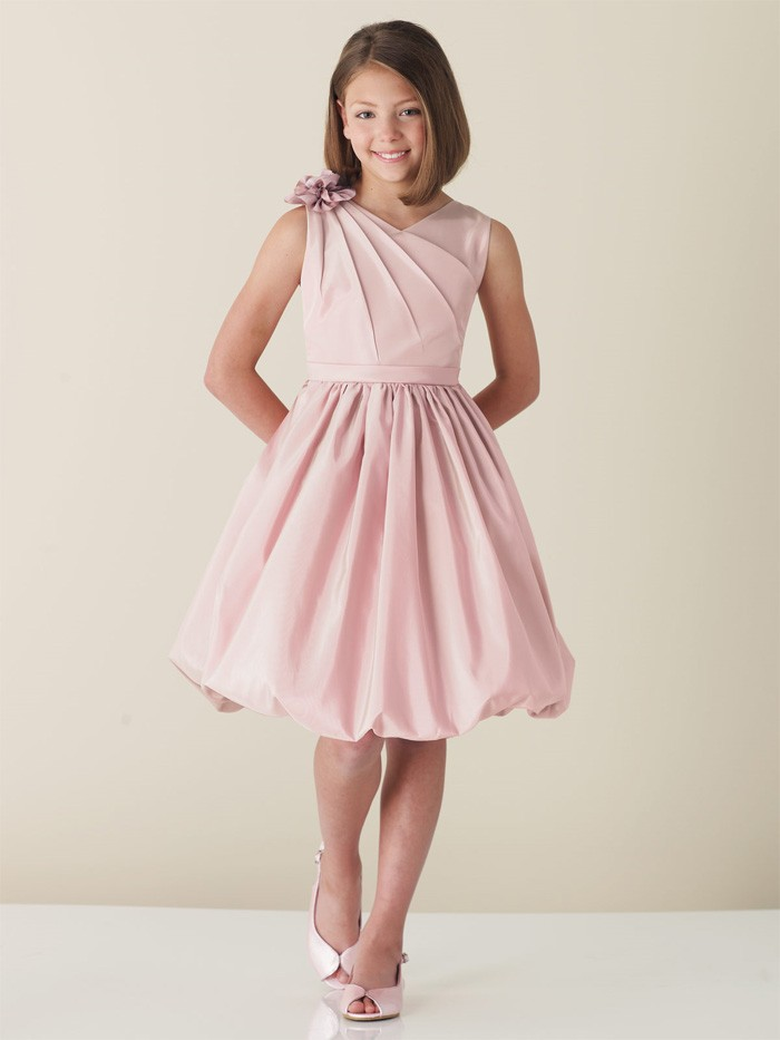short pink junior bridesmaid dress