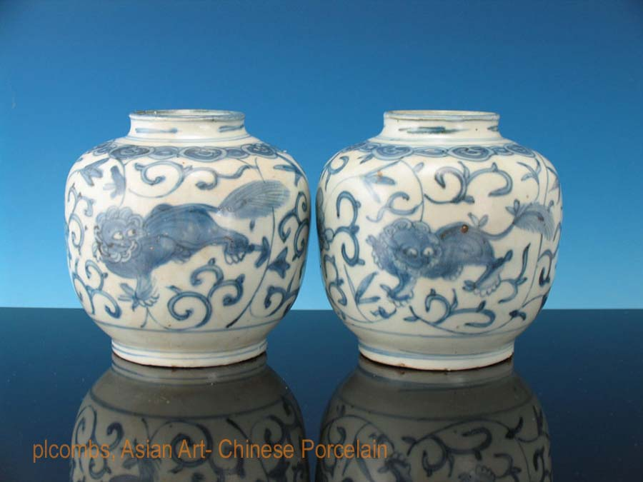 Foo Lion decorated Wanli jars