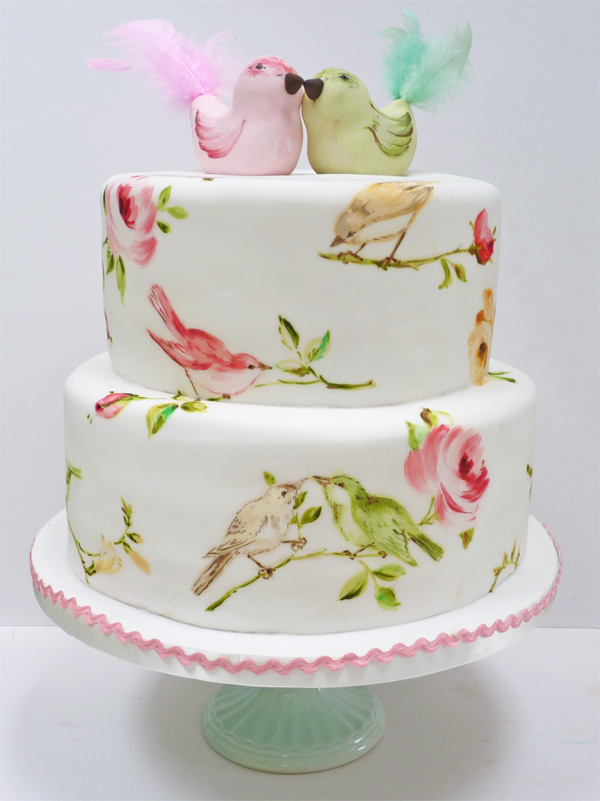 Birds and roses wedding cake