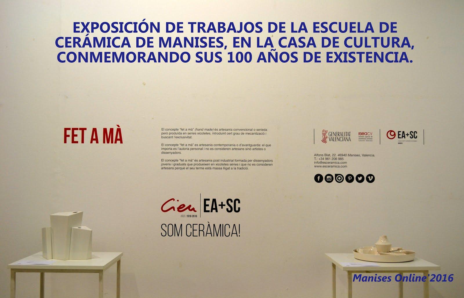 09.09.16 EXPOSICIÓN DE LA ESCUELA DE CERÁMICA DE MA- NISES EN LA CASA DE CULTURA