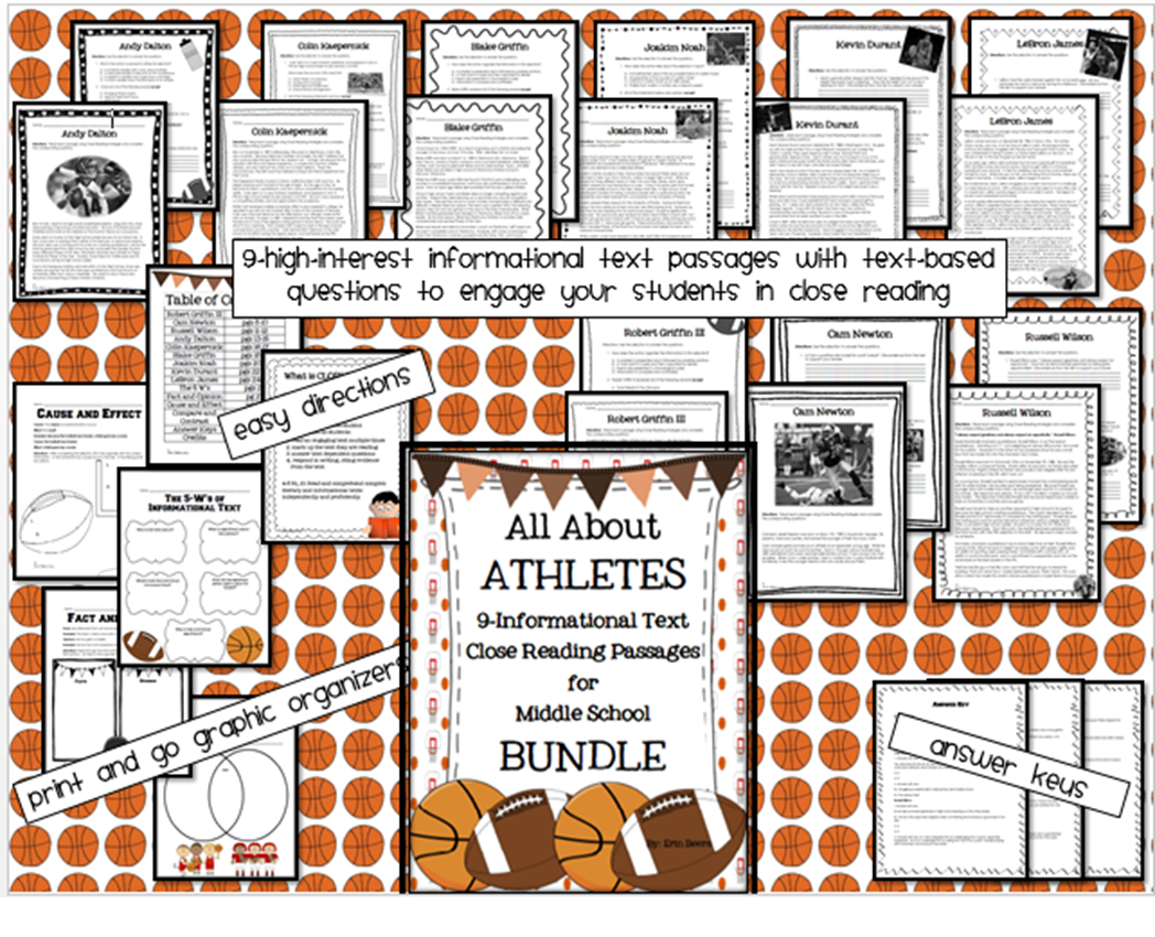 http://www.teacherspayteachers.com/Product/All-About-Athletes-Informational-Text-Close-Reading-Bundle-for-Middle-School-1105587