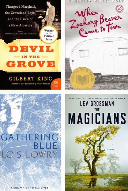 Devil in the Grove; When Zachary Beaver Came to Town; Gathering Blue; and The Magicians.