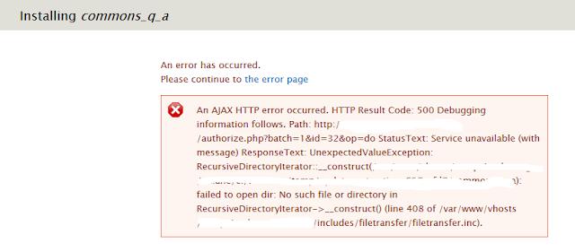Comment résoudre l'erreur «An AJAX HTTP error occurred.» à l'installation d'un module de Drupal, A Unix Mind In A Windows World