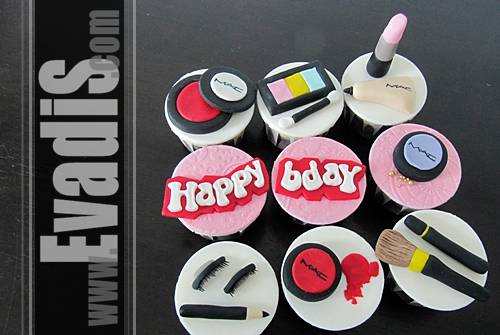 Pictures of Cupcakes with Cosmetic Items Design