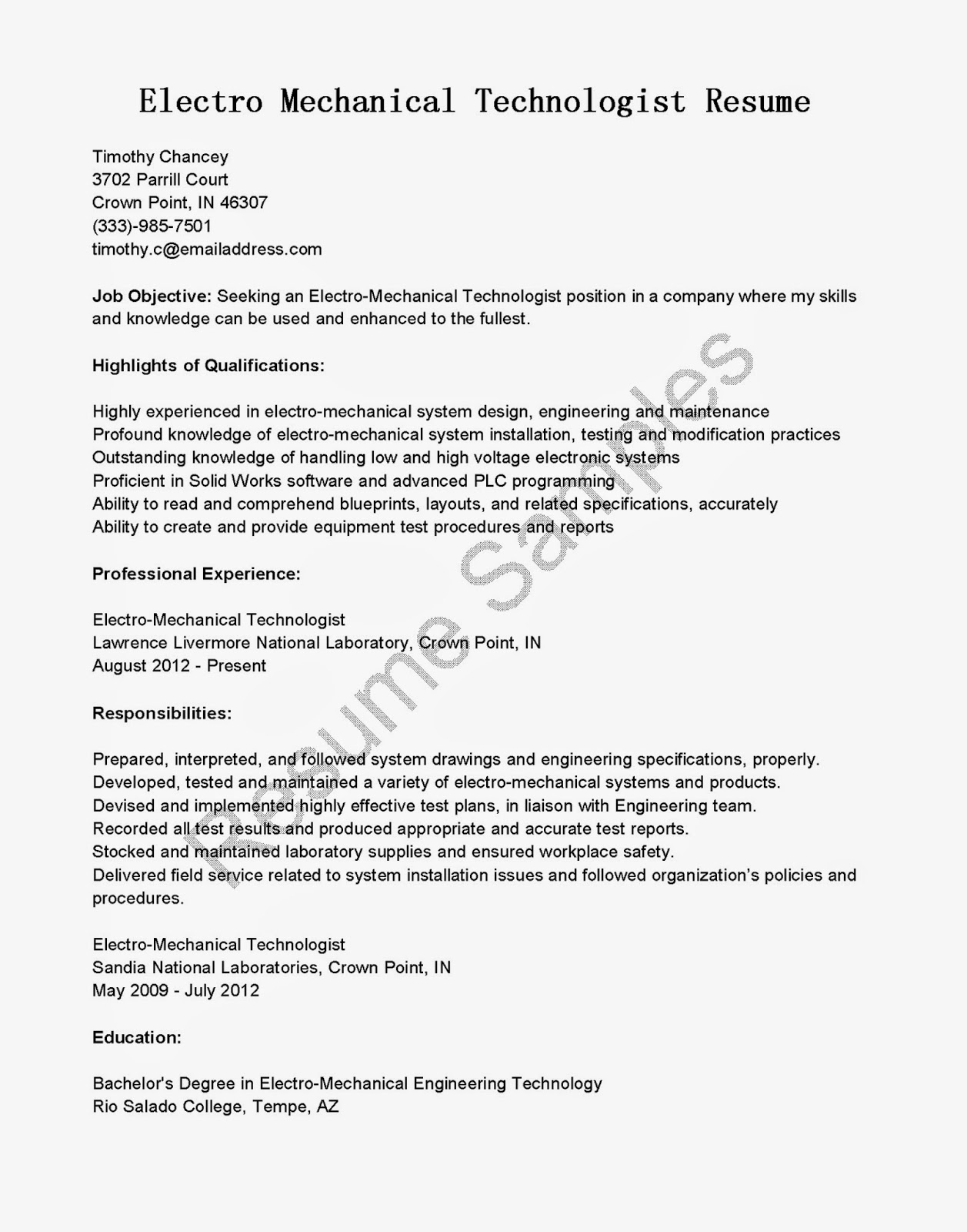 resume samples  electro mechanical technologist resume sample
