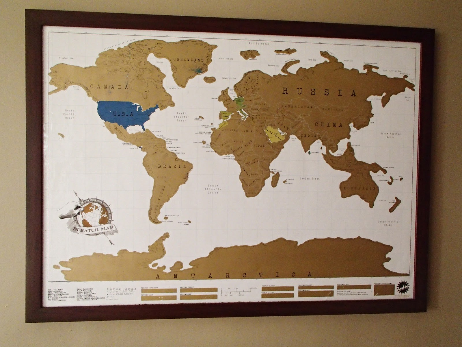 Vicariously Yours An Education In Culture Shock Our Apartment A - Framed scratch world map