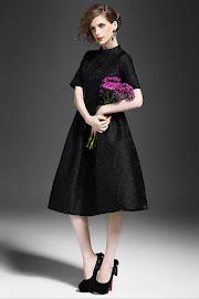Black/Red Rose Textured Vintage Flare Dress