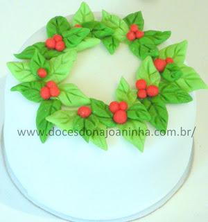 Minibolo decorado Natal com Papai Noel rena, guirlanda