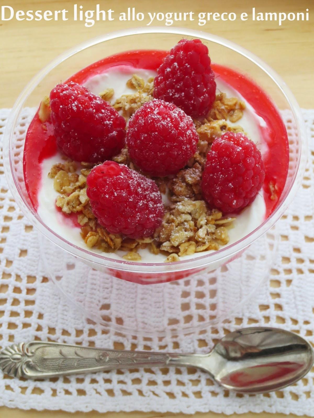 dessert light allo yogurt greco e lamponi