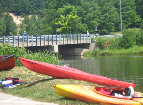 taking canoes out at Red Bridge