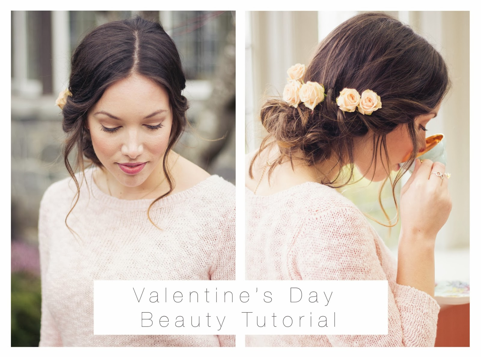 To Vogue or Bust Valentine's Day Beauty tutorial, Valentine's Day, Valentine's Day style, rose updo, loose chignon, rosy beauty, twisted updo, joe fresh sweater, vancouver style blog, vancouver fashion blog, vancouver fashion, vancouver style, canadian fashion blog, alexandra grant