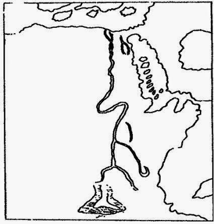 رسم مجرى النيل حسب خريطة بطليموس والمحفوظة بدير جبل اوتوس