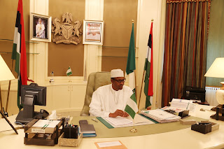 Muhammadu Buhari at the Presidential Villa