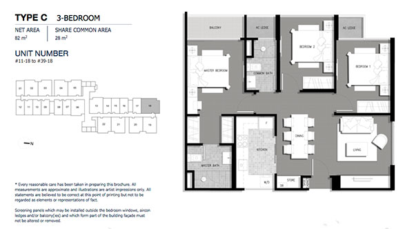 The Gateway @ Cambodia 3 Bedroom Floor Plan