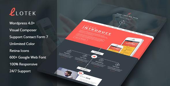 Lotek – Modern App Landing Page WordPress Theme