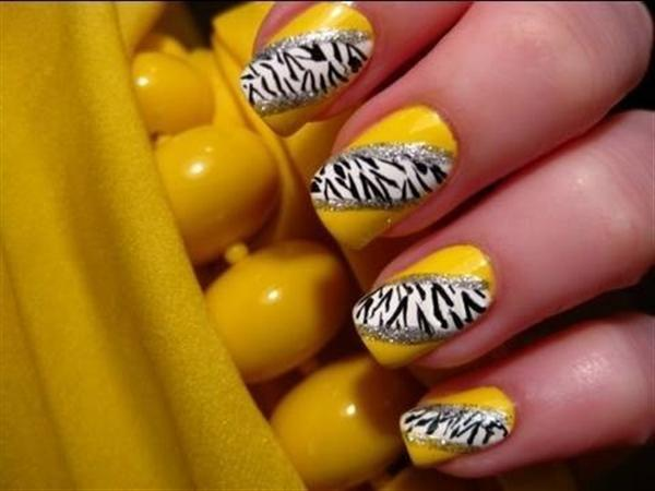 yellow nail art design violet