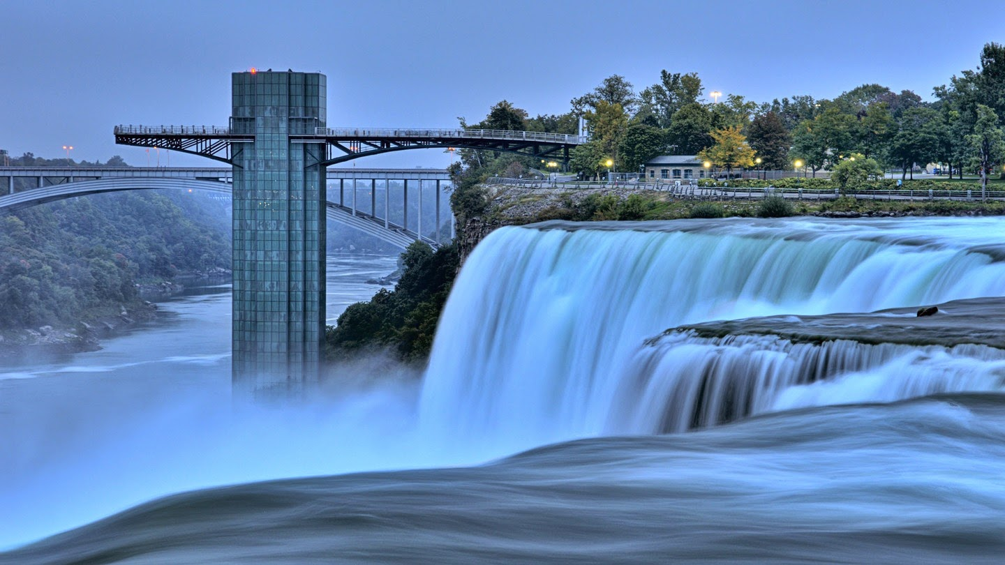 Famous Niagara Falls in border between the United States and Canada