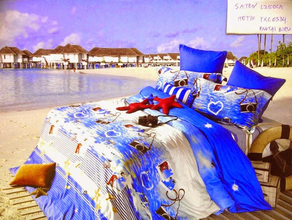 Sprei Jepang Super Biru Motif Pantai