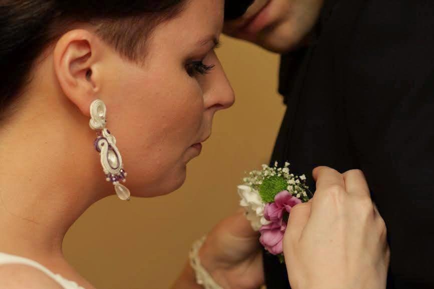 Kolczyki ślubne sutasz fioletowe