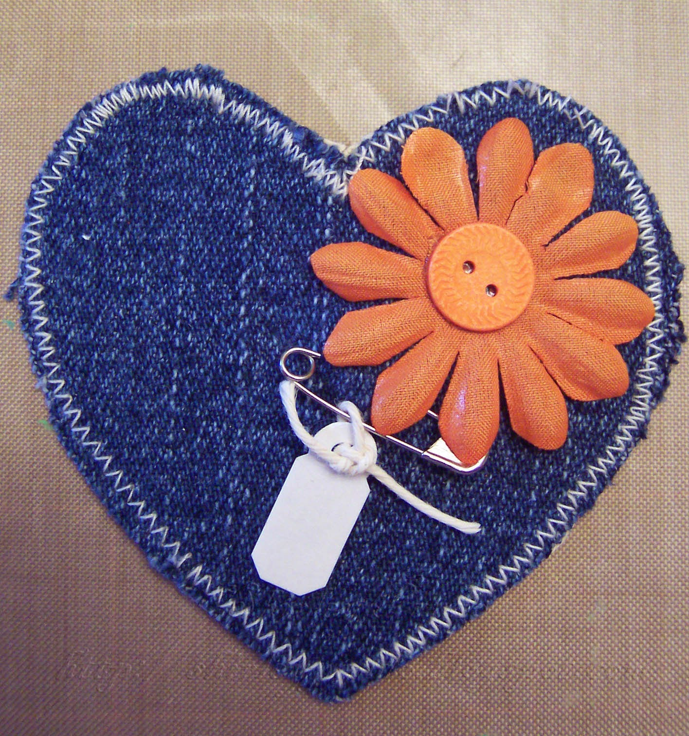 Blue Jean Heart Embellishment