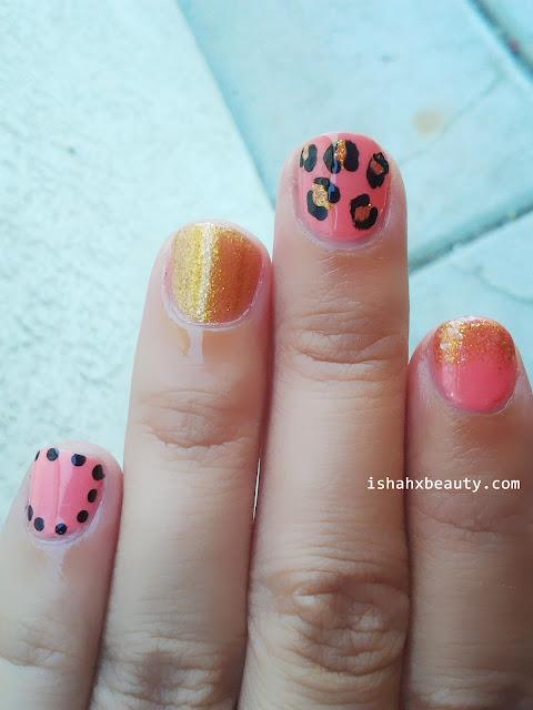Nail Art Leopard print gradient gold glitter dotting tool