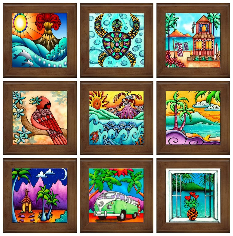 Holly Kitaura Art Hawaiian Art Framed Ceramic Tiles