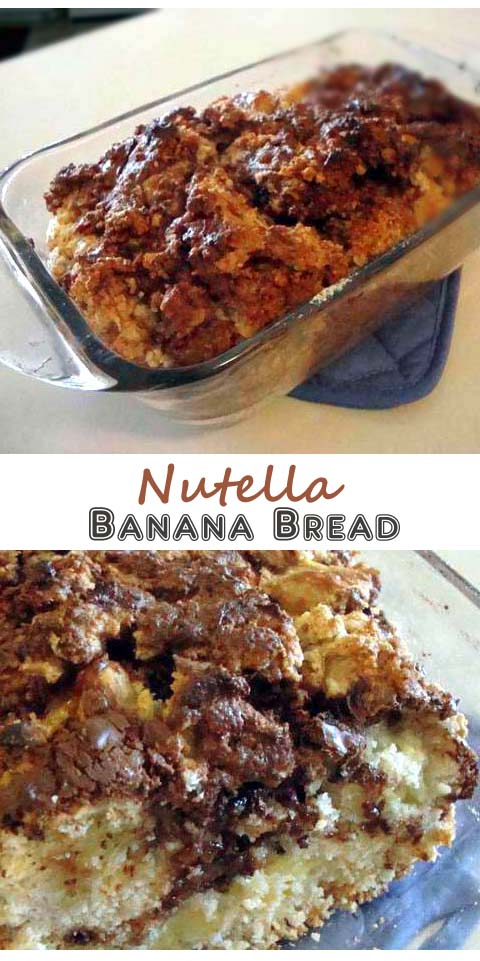 Banana bread filled with Nutella and Chopped Nuts. Top is kinda crunchy with gooey insides.