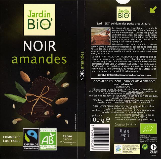 tablette de chocolat noir gourmand jardin bio noir amandes