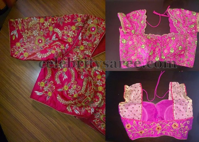 Pink Chain Work Silk Blouse Designs