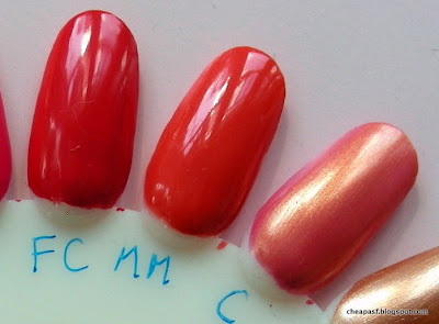 e.l.f. Essential Nail Polish swatches (left to right):  Fire Coral, Mango Madness, Coral