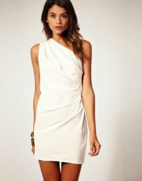 One Shoulder Dress with Drape Front