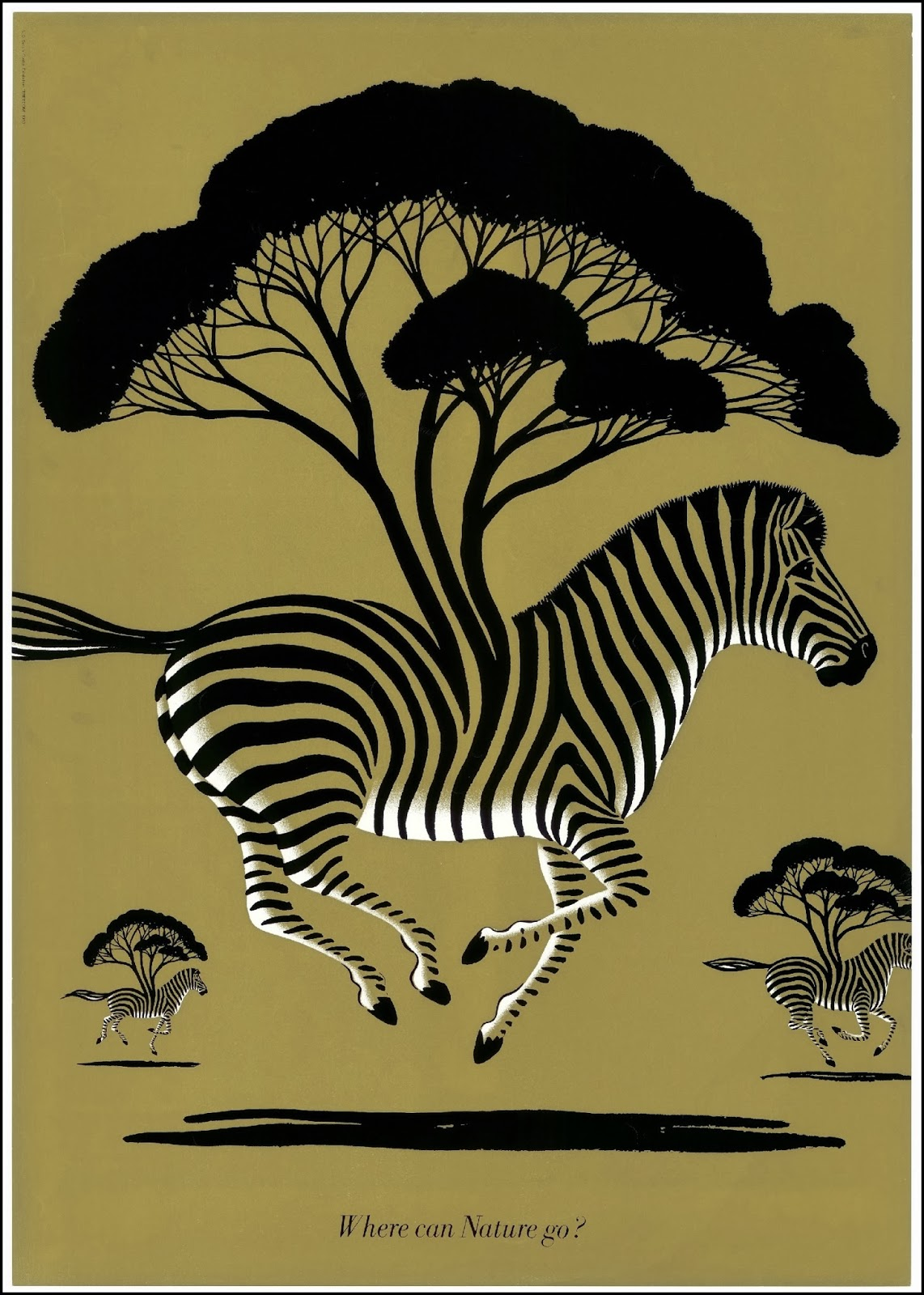 poster with gallopping zebras with trees growing out of their stripes