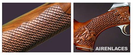 tallas en madera, escamas de pez, piel de dragón